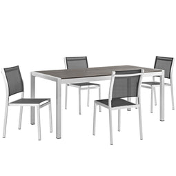 Durable Shore Outdoor Patio Aluminum Dining Room Sets In Silver Black - 5 Piece
