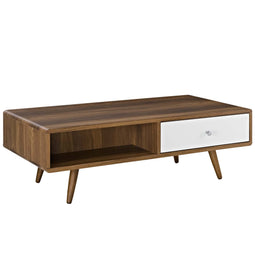 Modern Transmit  Media Console Low Profile Wood Coffee Table - Cocktail Table
