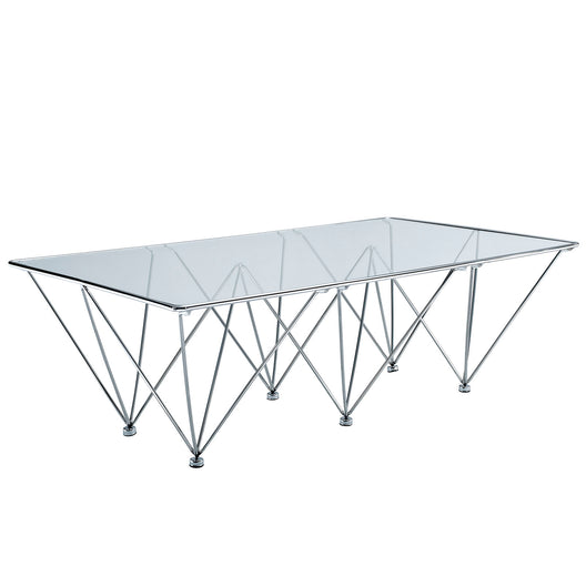 Modern Prism Tapered Glass Rectangle Coffee Table With Geometric Base In Clear
