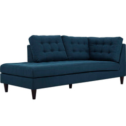 Mid - Century Modern Empress Upholstered Fabric Bumper Sectional Sofa - Chair Bed