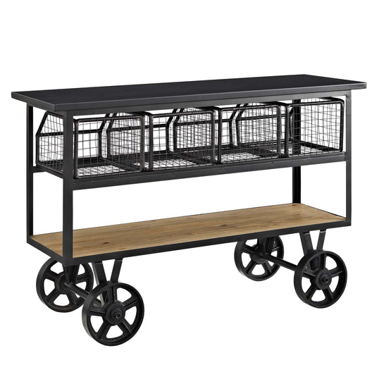 Farmhouse bar Fairground Serving Stand With Four Diy Bar cart - Brown