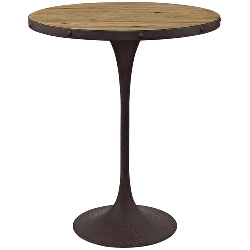 Drive Wood Bar Long And Small - Single Round Cocktail Bar - Counter Height Table