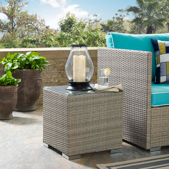 Repose Wicker Rattan Outdoor Patio Side End Table - Bedside Table - Side Table