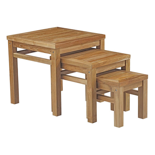 Classy Style Marina Outdoor Patio Teak Wood Nesting Side Table - Table Set