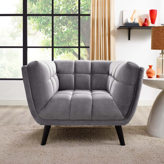 Modern Bestow Tufted Upholstered Velvet Sofa Accent Furniture - Mid Century Modern Accent ArmChair