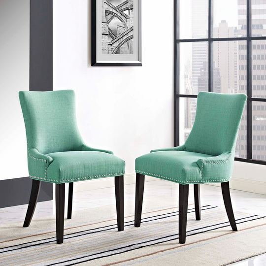 Modern Marquis Fabric Leisure Padded Dining Chair Set Of 2 - Comfortable Side Chairs