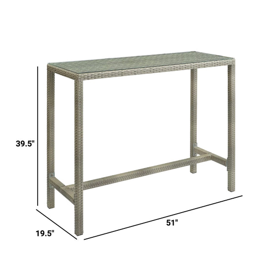 Conduit Outdoor Patio Wicker Rattan Large Bar Table