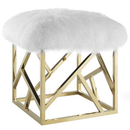 Modern Contemporary Intersperse Square Gold Footstool Ottoman With Sheepskin Top - White