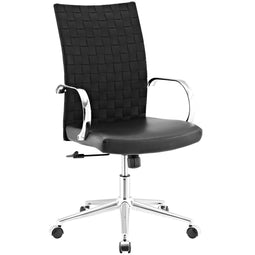 Ergonomic Adjustable Verge Webbed Back Office Chair, High Back With Breathable Mesh - Black