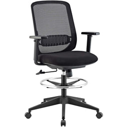 Acclaim Mesh Desk Drafting Mesh Table Chair With Adjustable Armrest and Foot Ring (Black)