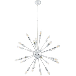 Mid-Century Silver Pendant Gamut Chandelier - 25W x 20 - Chrome Plated - Air-Powered