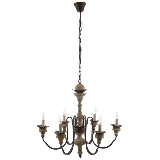 150W Dimmable Bountiful French Vintage Timeless Candelabra Chandelier - Black - Pendant Ceiling Light - Wood & Metal