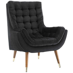 Modern Upholstered Performance Suggest Button Tufted Velvet Lounge Chair
