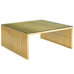 Gridiron Stainless Steel Rectangle Coffee Table - Modern Dining Room Table