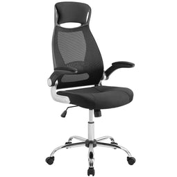 Black Stylish Expedite Highback Office Chair With Adjustable Arms- For Desk Chair