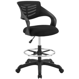 Thrive Mesh Drafting Chair- Reception Desk Chair - Drafting Stool Chair Adjustable Height with Flip-up Arms