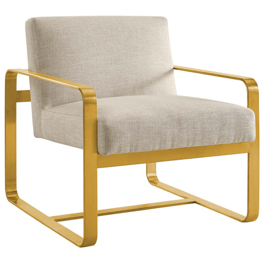 Mid Century Astute Fabric Upholstered Accent Armchair - Club Guest Chair With Gold Steels Legs