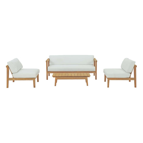 Bayport 4 Piece Armless Outdoor Patio Teak Set