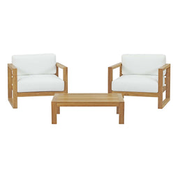 Upland 3 Piece Outdoor Patio Teak Set With Upland Coffee Table