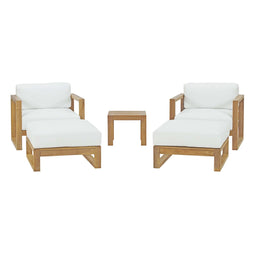 Upland 5 Piece Outdoor Patio Teak Set