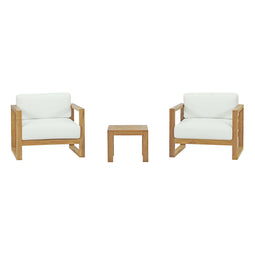 Upland 3 Piece  2 Seater Outdoor Patio Teak Set With Upland Side Table