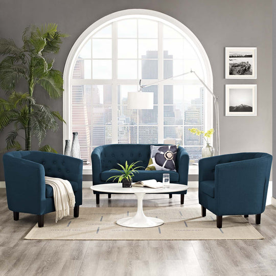 Modern prospect Stain Resistant Fabric Armchair - Plastic Foot Glide Chair- 3 Set