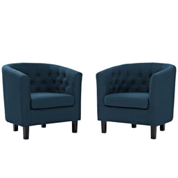 Modern Prospect Tufted Upholstered Fabric 2 Set Sofa - Mid Century Modern Accent ArmChair