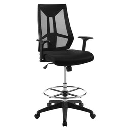 Modern Executive Adjustable Extol Mesh Stool Rolling Swivel Drafting Chair, Black