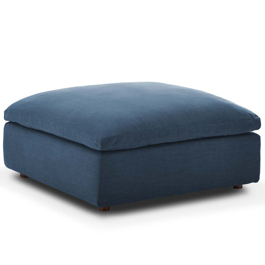Commix Down Filled Overstuffed Ottoman - Beige Color Footstool Ottoman With Non-Marking Foot Caps