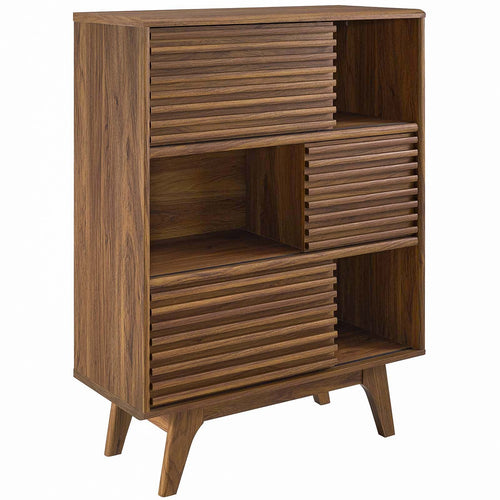 Modern Render Three Tier Display Floor Stand Cabinet - Book Matched  Open Shelf Cabinet
