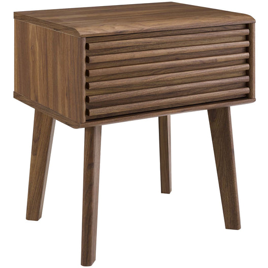 Mid Century Render Modern End Table Nightstand With Four Tapered Wood Legs - Small End Table In Walnut Grain Laminate