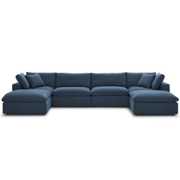 Modern Occasional Commix Down Filled Overstuffed 6 Piece Sectional Sofa Set