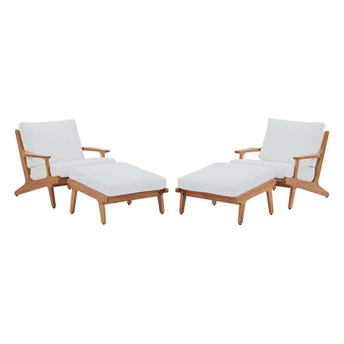 Saratoga 4 Piece Outdoor Patio Teak Set With Ottomans