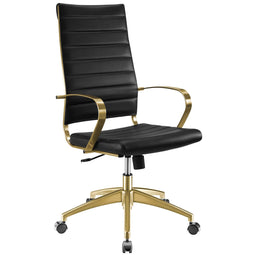 Jive Gold Stainless Steel Highback Ergonomic Computer Office Chair With Armrests