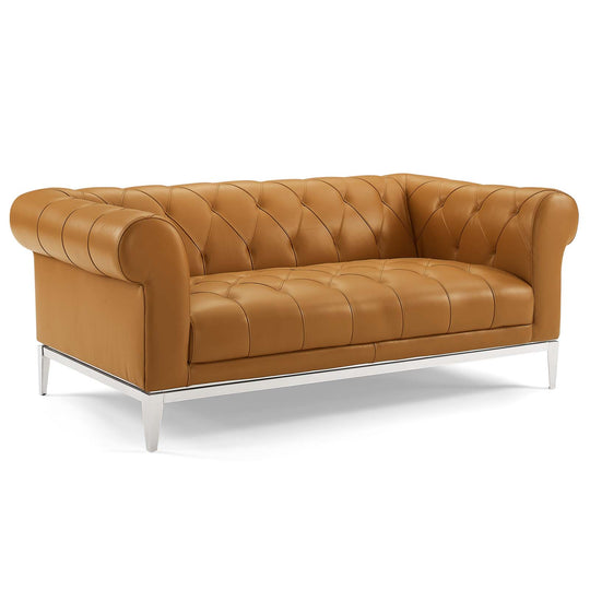Idyll Tufted Button Upholstered Leather Chesterfield Sofa