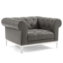 Idyll Tufted Button Upholstered Leather Chesterfield Armchair