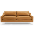 "Load image into Gallery viewer, Harness 83.5"" Stainless Steel Base Leather Sofa"