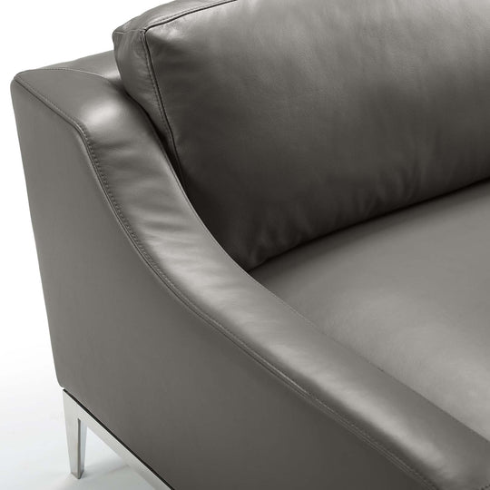 Harness Stainless Steel Base Leather Armchair