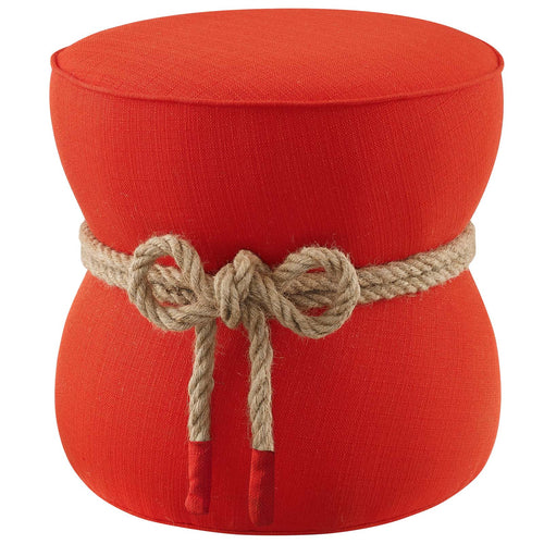 Beat Nautical Rope Upholstered Fabric Ottoman - Atomic Red