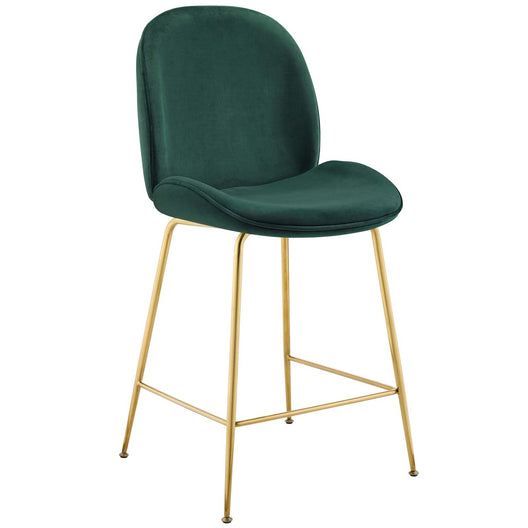 Performance Velvet Scoop Gold Stainless Steel Leg Counter Stool - Counter Stools With Back