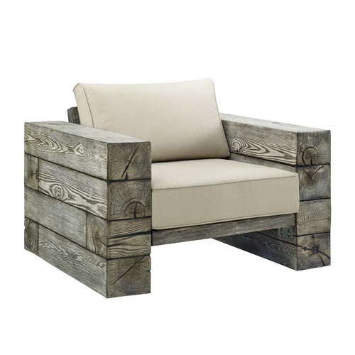 Manteo Rustic Coastal Outdoor Patio Sunbrella Lounge Armchair