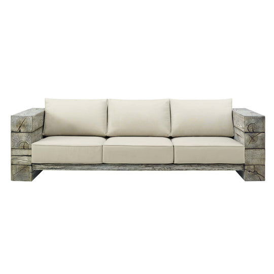 Manteo Rustic Coastal Outdoor Patio Sunbrella Sofa