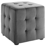 Contour Tufted Square Ottoman - 15.5 Inch - Upholstered Performance Velvet - Ivory