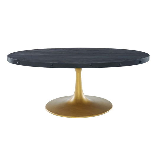 Drive Wood Bar Table in Black Gold - Industrial Modern Pub Table