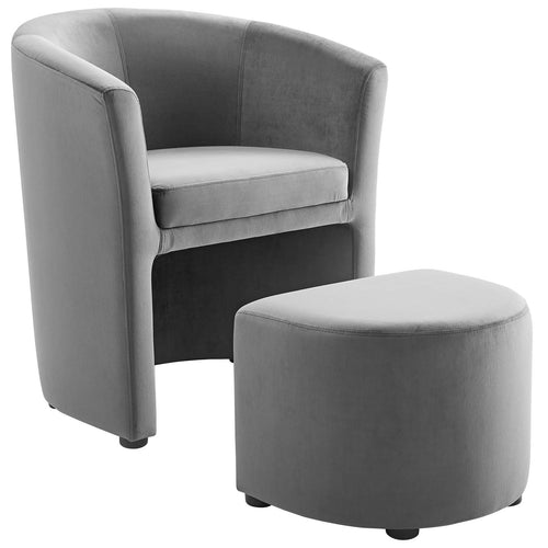 Divulge Performance Velvet Arm Chair And Ottoman Set - Navy