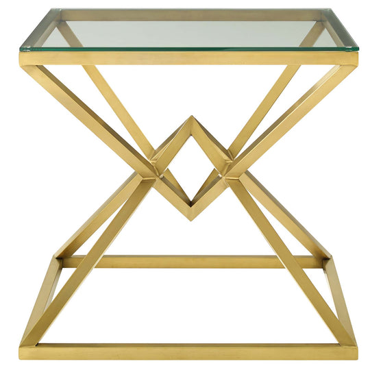 Point Brushed Gold Metal Stainless Steel Side Table