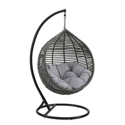 Hammock Net Swing Chair, Garner Teardrop Outdoor Patio Swing Chair in Gray Color - With 2 Seat Cushions