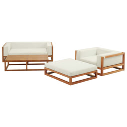 Newbury 4 Piece Outdoor Patio Premium Wood Set With Rectangular Ottoman With Footstool