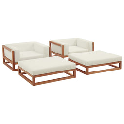Newbury 4 Piece Outdoor Patio Premium Grade A Teak Wood Set With Ottoman With Armrest Ottoman In Natural