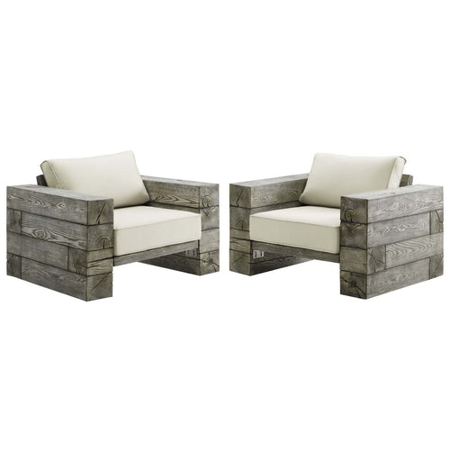 Manteo Rustic Coastal Outdoor Patio Lounge Armchair Set of 2